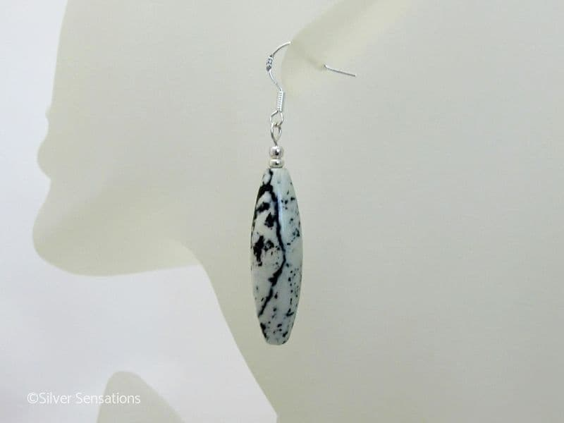 Pale Green & Black Pistachio Turquoise & Sterling Silver Earrings