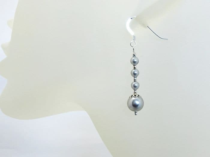 Pale Grey Swarovski Pearls & Sterling Silver Wedding Earrings