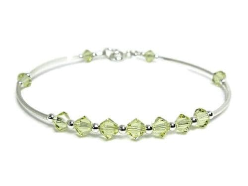 Pale Yellow Crystals Bangle Bracelet With Sterling Silver