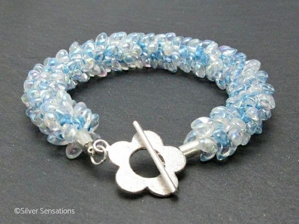 Pastel Baby Blue Beaded & Braided Woven Petals Kumihimo Seed Bead Bracelet   Silver Sensations