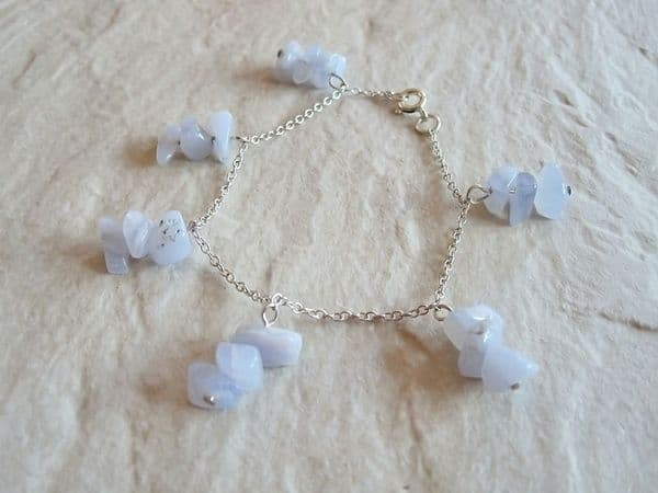 Pastel Baby Blue Lace Agate & Sterling Silver Chain Bracelet | Silver Sensations