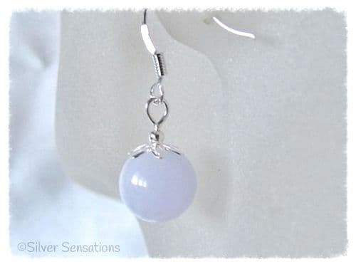 Pastel Lavender Jade & Sterling Silver Short Drop Earrings