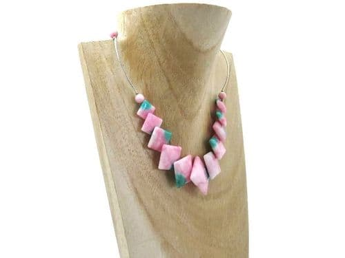Pastel Pink & Green Jade Diamonds & Sterling Silver Curves Necklace
