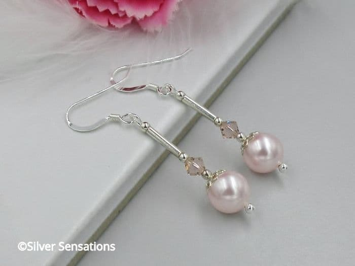 Pastel Pink Swarovski Pearls & Swarovski Crystals Sterling Silver Wedding Earrings