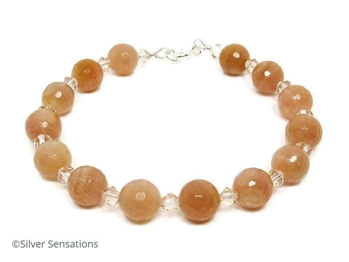 Peach Pink Faceted Sunstone Bracelet With Swarovski Crystals