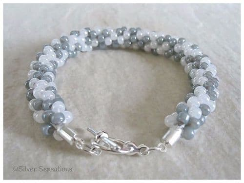 Pearly White & Pastel Grey Beaded & Woven Kumihimo Seed Bead Bracelet
