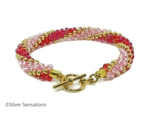 Pink, Gold & Red Long Stripe Kumihimo Seed Bead Bracelet