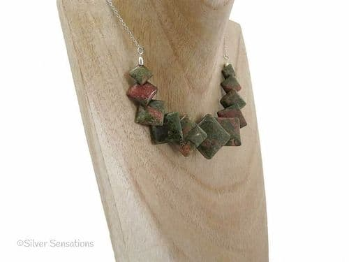 "Pink & Green Unakite Flat Square ""Diamond"" Beads & Sterling Silver Chain Necklace"