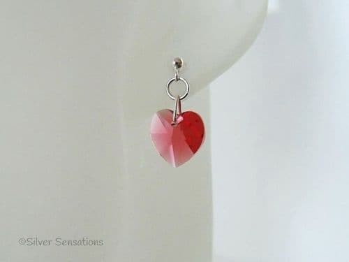 Pink Orange Swarovski Heart Crystals & Sterling Silver Elegant Dangly Stud Earrings | Silver Sensations