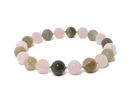 Pink Rose Quartz & Natural Moonstone Beaded Bracelet With Sterling Silver