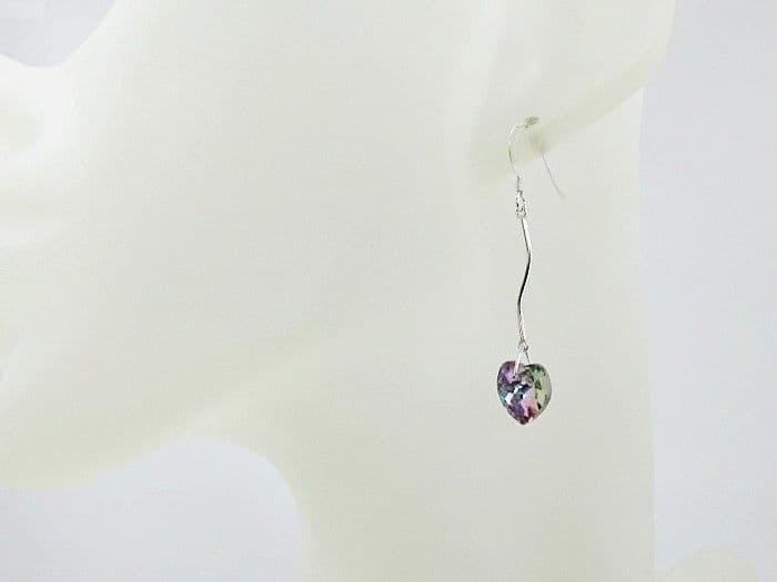 Purple Rainbow Heart Earrings With Solid Sterling Silver Bars & Swarovski Crystals