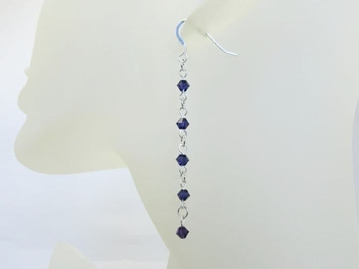 Purple Swarovski Crystals & Sterling Silver Long Chain Earrings