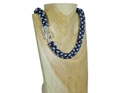Rainbow Blue Black & Frosted Clear Petals Kumihimo Necklace