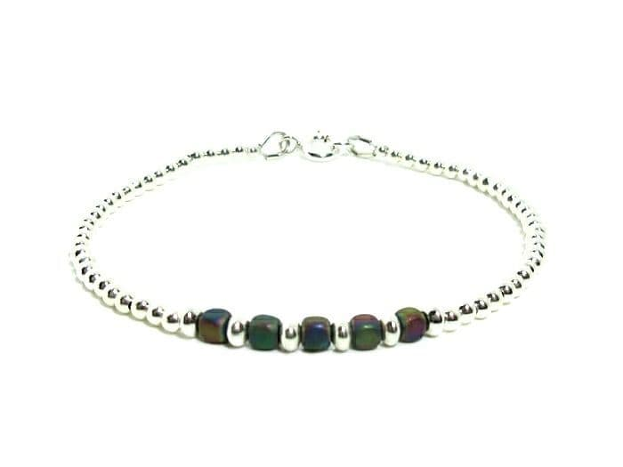 Rainbow Hematite Cube Beads Stacking Bracelet With Sterling Silver