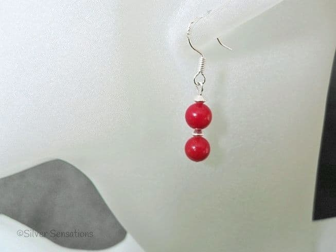 Red Beaded Short Drop Earrings With Sterling Silver