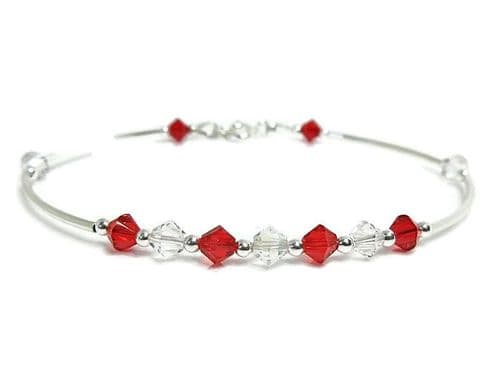 Red & Clear Sparkly Swarovski Crystals & Sterling Silver Bangle Bracelet