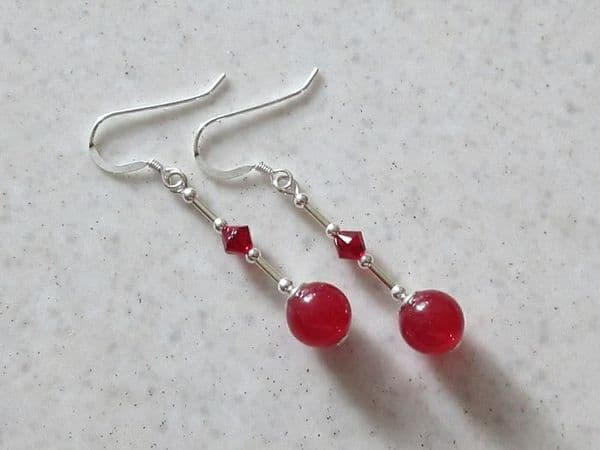 Red Jade Sterling Silver Earrings With Swarovski Crystals | Silver Sensations