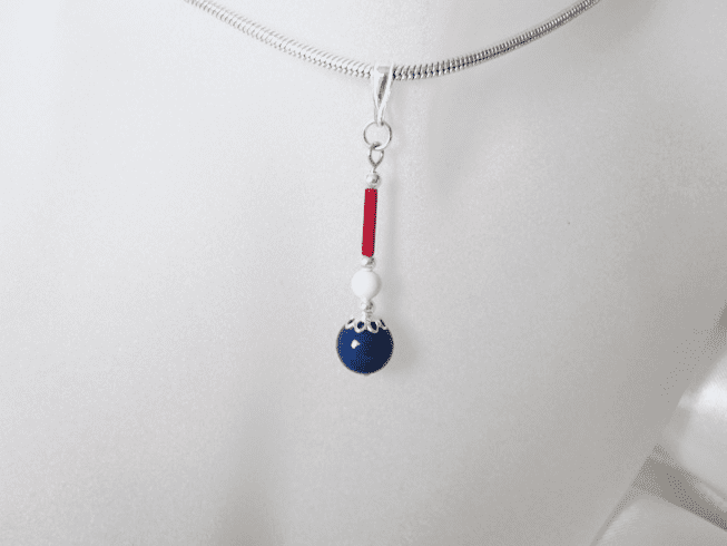 Red White & Blue Pearls Sterling Silver Pendant