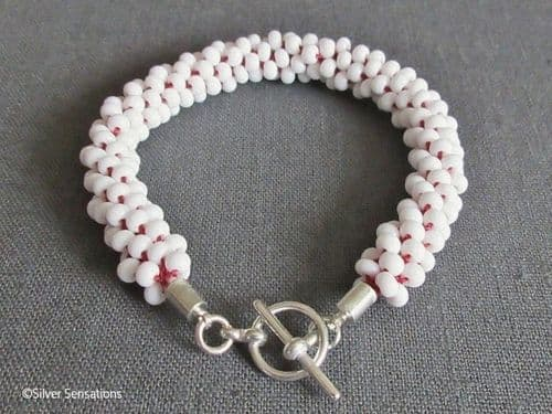 Red & White Kumihimo Seed Bead Fashion Bracelet