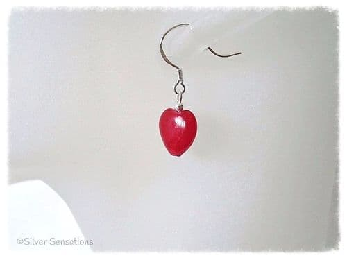Ruby Red Jade Heart Beads & Sterling Silver Short Drop Earrings