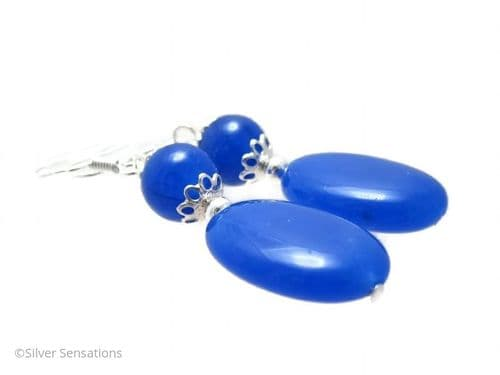 Sapphire Blue Jade Flat Oval & Round Sterling Silver Earrings