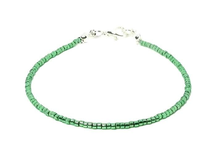 Shiny Emerald Green Seed Bead Fashion Anklet
