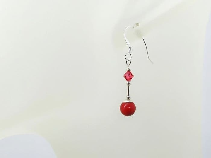 Short Red Coral Earrings With Sterling Silver Tubes & Swarovski Crystals