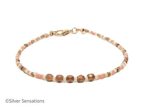 Slim Peach, Coffee & Cream Seed Beads Friendship Bracelet