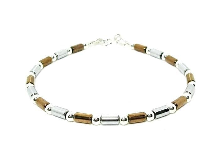 Slim Silver & Bronze Hematite Bracelet  With Tube Beads & Sterling Silver