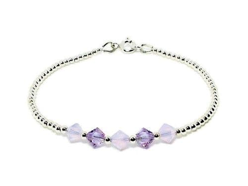 Slim Sterling Silver Bracelet With Purple Swarovski Crystals