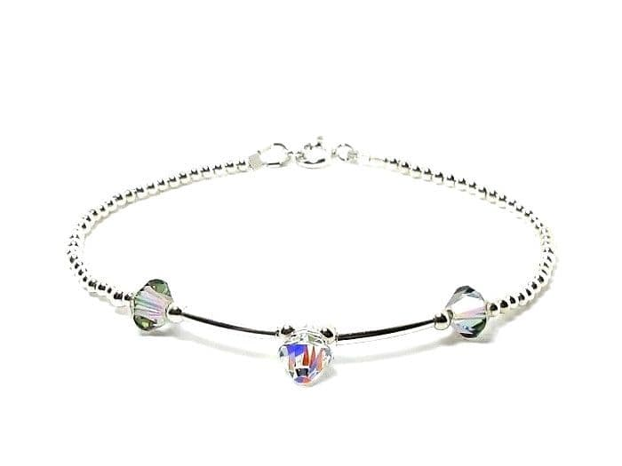 Slim Sterling Silver Bracelet With Sparkly Rainbow Crystals