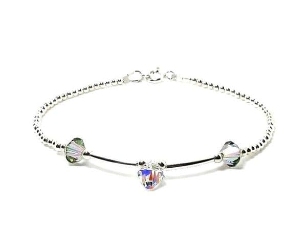 Slim Sterling Silver Bracelet With Sparkly Rainbow Crystals | Silver Sensations