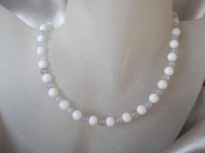 Snow White Agate & Pastel Blue Lace Agate Sterling Silver Necklace