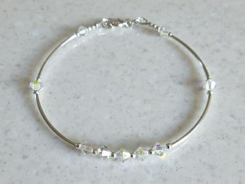 Sparkly AB Rainbow Crystals & Sterling Silver Curves Bracelet