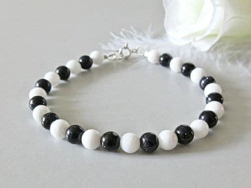 Sparkly Blue Goldstone & White Agate Bracelet With Sterling Silver