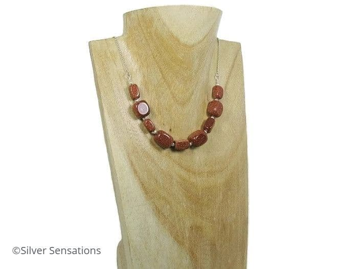 Sparkly Brown Sandstone / Goldstone & Sterling Silver Chain Necklace