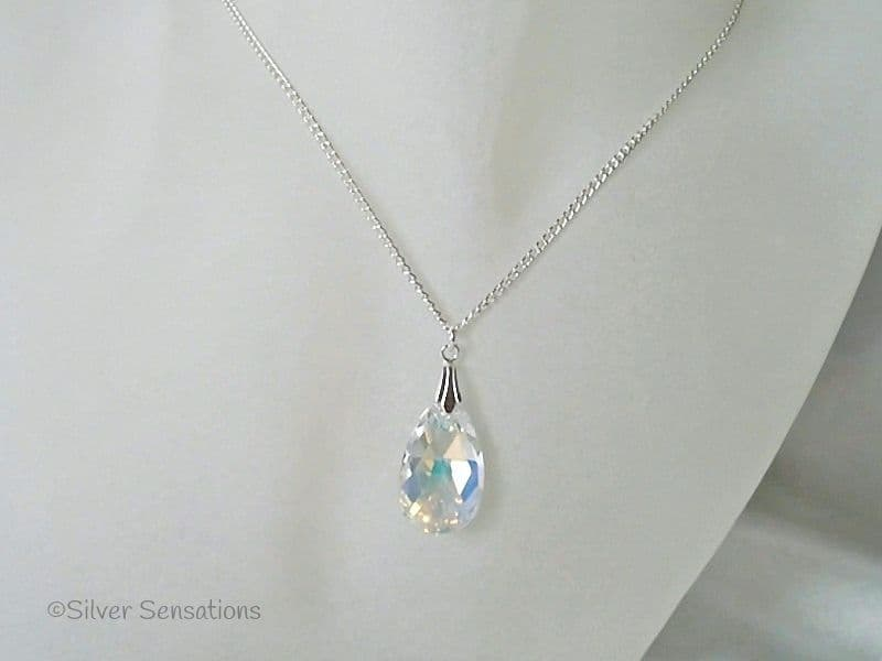 Sparkly Swarovski AB Rainbow Faceted Pear Pendant & Sterling Silver Necklace