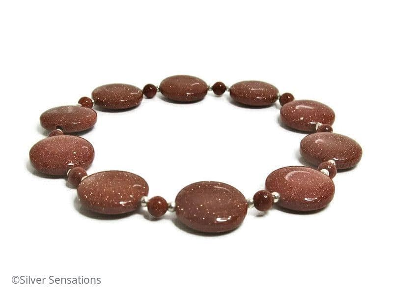 Sparkly Tan Brown Goldstone Coin Beads & Sterling Silver Stretch Bracelet