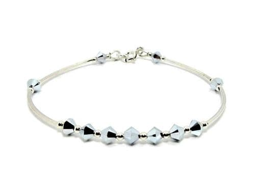 Sterling Silver Bangle Bracelet With Sparkly Silver Crystals
