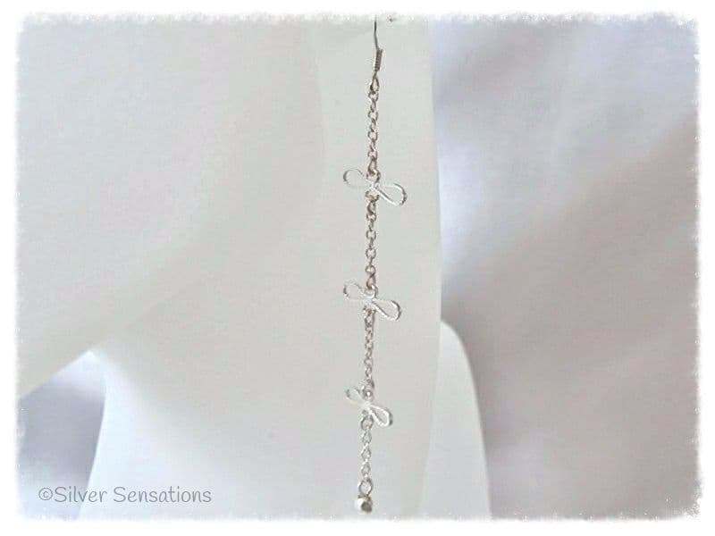 Sterling Silver Filigree Bows & Chain Long Earrings