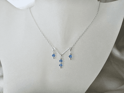 Sterling Silver Wave & Sparkly Blue Swarovski Crystals Chain Necklace