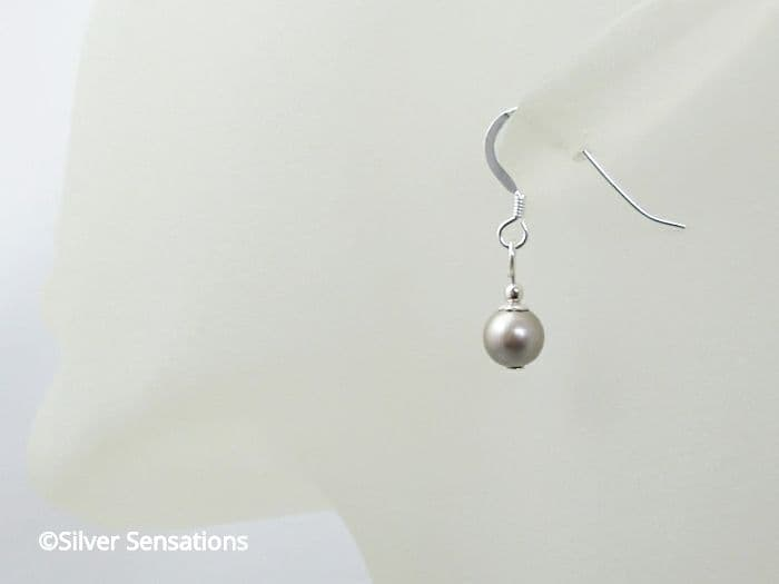 Swarovski Platinum Pearls & Sterling Silver Short Drop Earrings