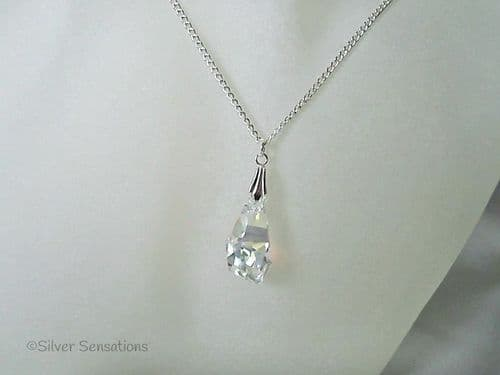 Swarovski Sparkly AB Rainbow Crystal Faceted Polygon Pendant & Sterling Silver Necklace