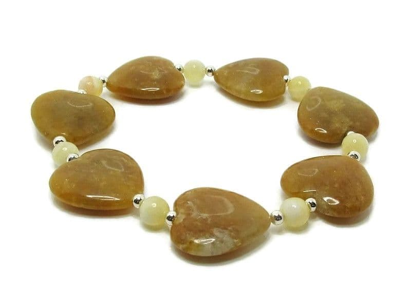 Tan Brown Golden Jade Heart Beads Bracelet With Sterling Silver