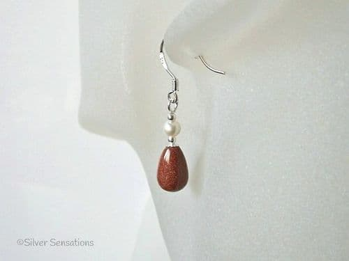 Tan Brown Sandstone Tear Drop Earrings With Cream Swarovski Pearls & Sterling Silver