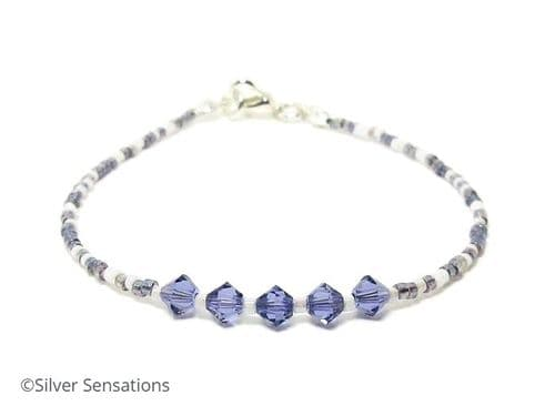 Tanzanite Purple & White Seed Bead Stacking Bracelet With Swarovski Crystals | Silver Sensations