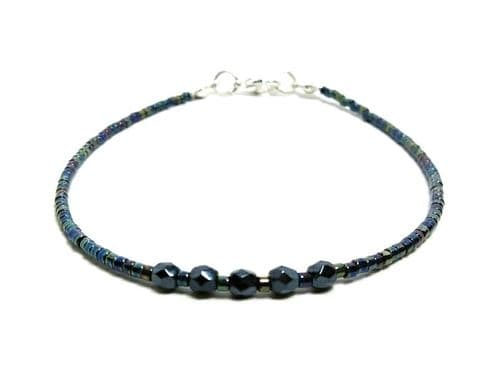 Tiny Blue Black Stacking Seed Bead Fashion Anklet