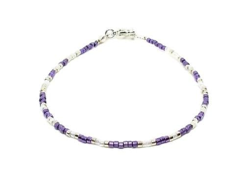 Tiny Purple, White & Silver Seed Bead Friendship Anklet