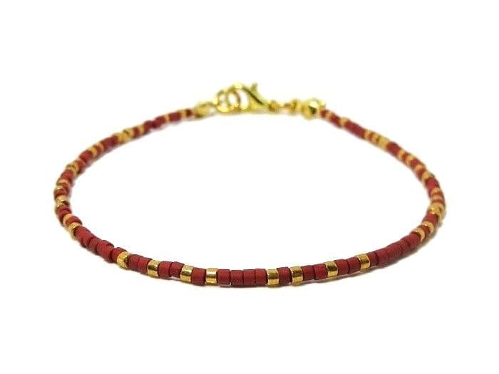 Tiny Red & Gold Seed Bead Friendship Stacker Bracelet