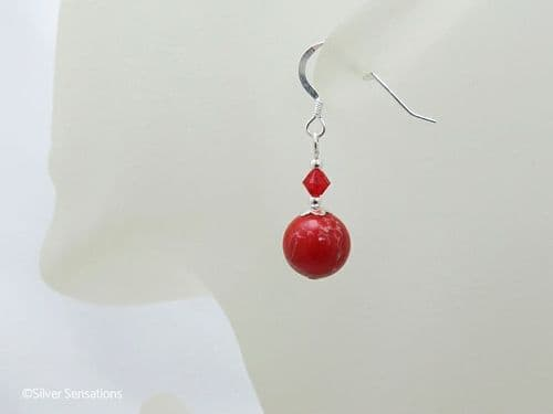 Tomato Red Impression Jasper & Crystal Sterling Silver Earrings